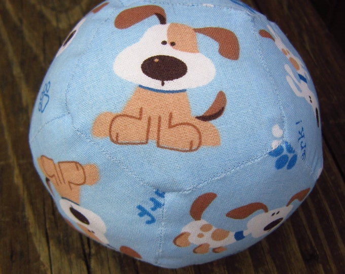 Featured listing image: Baby Blue Puppy Baby Ball with Rattle ~ Hand Stitched ~ Fun Baby Shower Gift