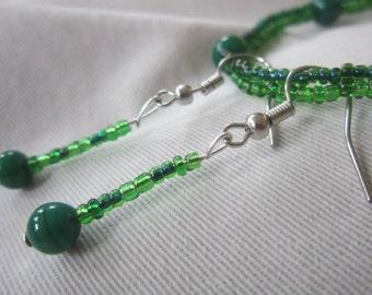 Going Green Bracelet & Earring Set ~ Shades of green beading