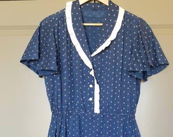1960's Navy Blue Cotton Tea Dress Vintage Retro