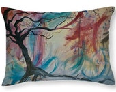 Spring Breeze Decorative Pillow, Soft Velveteen Nature Decor printed from Original Art - multiple sizes