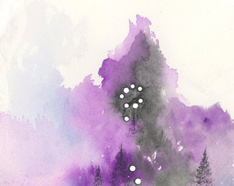 """Original Watercolor and Charcoal Painting, Forest and Stars - """"Pisces"""" - by Emily Magone"""