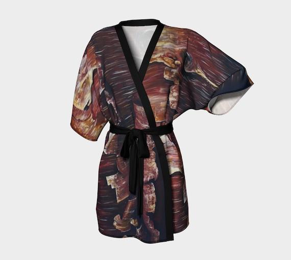 Eco Printed Wrap Top Beach Coverup Short Dressing Robe for Bridesmaids Bath Robe for Bride Peachskin Fabric Kimono Robe