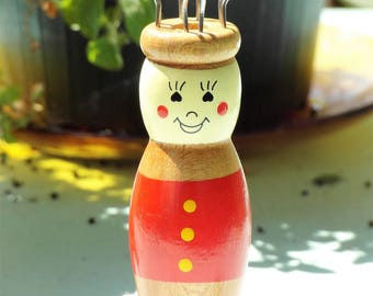 Wooden doll Knittliesel cheerful costume doll red blue wood handmade