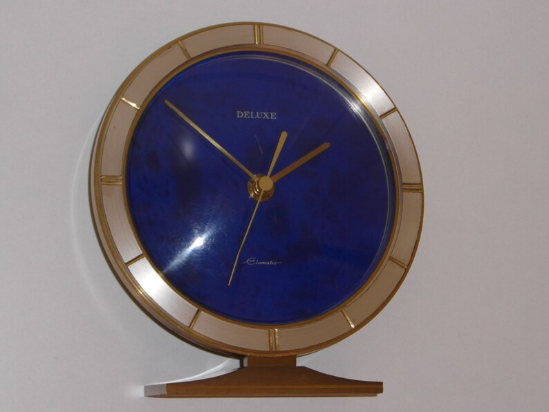 Table clock EUROPA Deluxe Elomatic 1960s footed brass clock blue metallic /  Vintage decoration & gift idea