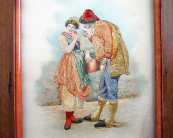 Antique picture with picture frame Hungarian embroidery on silk handmade unique