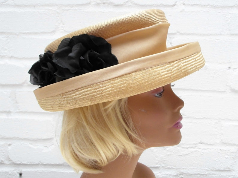 8cd2579d Italian women's hat with black silk flowers & brim | Etsy