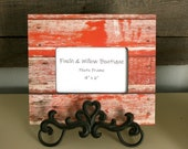 Red Barn wood Picture frame, Rectangle Frame, photo frame, 4 x 6 frame, Red frame, Christmas photo frame