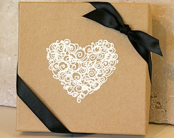 Heart Gift box, Embossed Gift Boxes, Paper gift box, Jewelry gift boxes, Bridesmaid gift box, Favor boxes