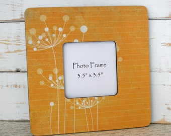 Dandelion decor, Picture frame, Photo frame, Orange frame