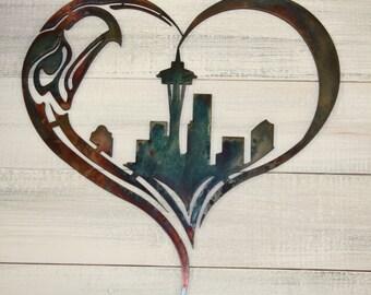 Seattle Seahawks metal wall art, 12th Man, Love Seattle,