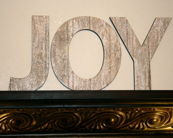Shabby Chic Glitter wall letters, Home decor, Coastal decor, JOY letters, Shabby chic decor