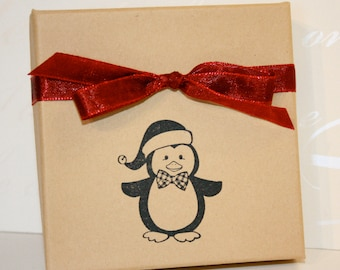 Penguin Holiday gift box, Paper gift box, Jewelry gift boxes, Christmas, Decorative gift box