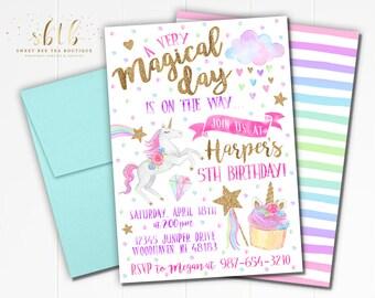 Unicorn Face Birthday Invitation Printable Photo Invite Etsy