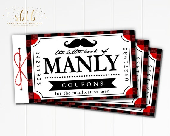 manly coupon book blank coupons valentine s day etsy