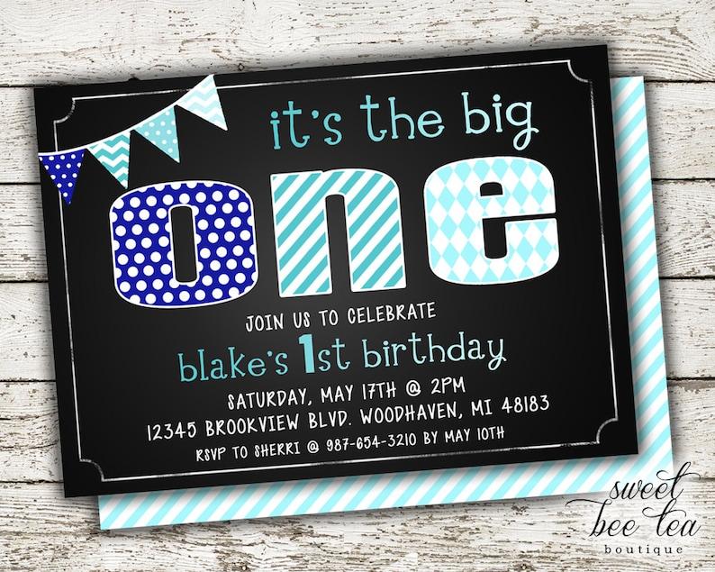 Baby Boys Blue Ombre Custom Birthday Invitation Invite