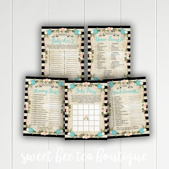 Games Bundle Boy What/'s In Your Purse Alice in Wonderland BABY Shower Games Printable BLUE Games Package Price is Right Baby Bingo