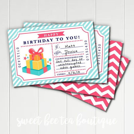 blank birthday coupons gift for husband boyfriend dad son etsy