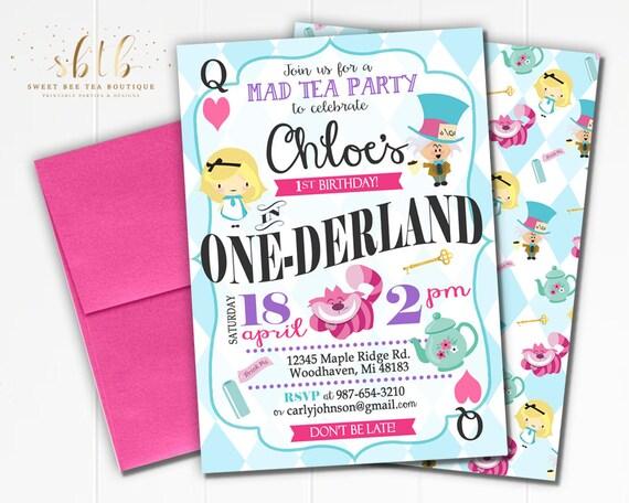 Boys girls alice in wonderland first 1st birthday invitation etsy image 0 filmwisefo