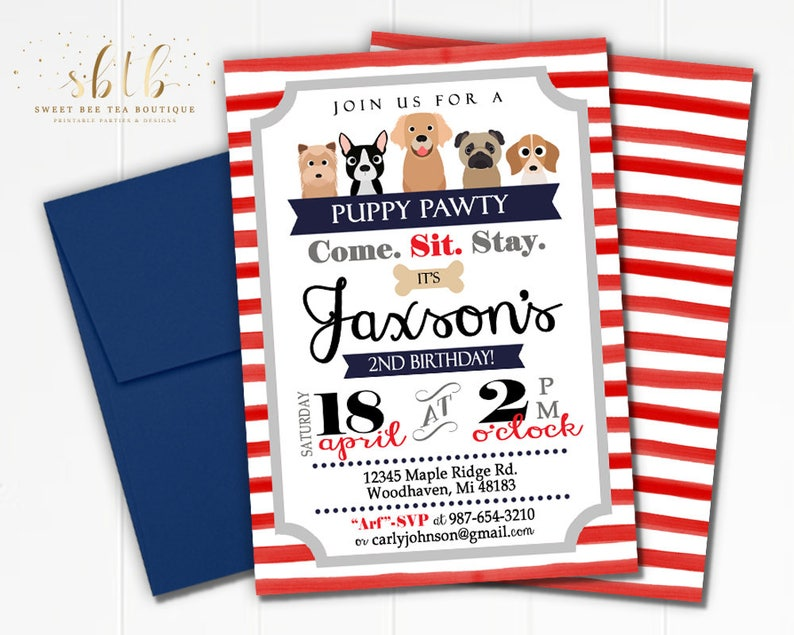 Puppy Pawty  Puppy Party  Baby First Birthday Invitations  image 0
