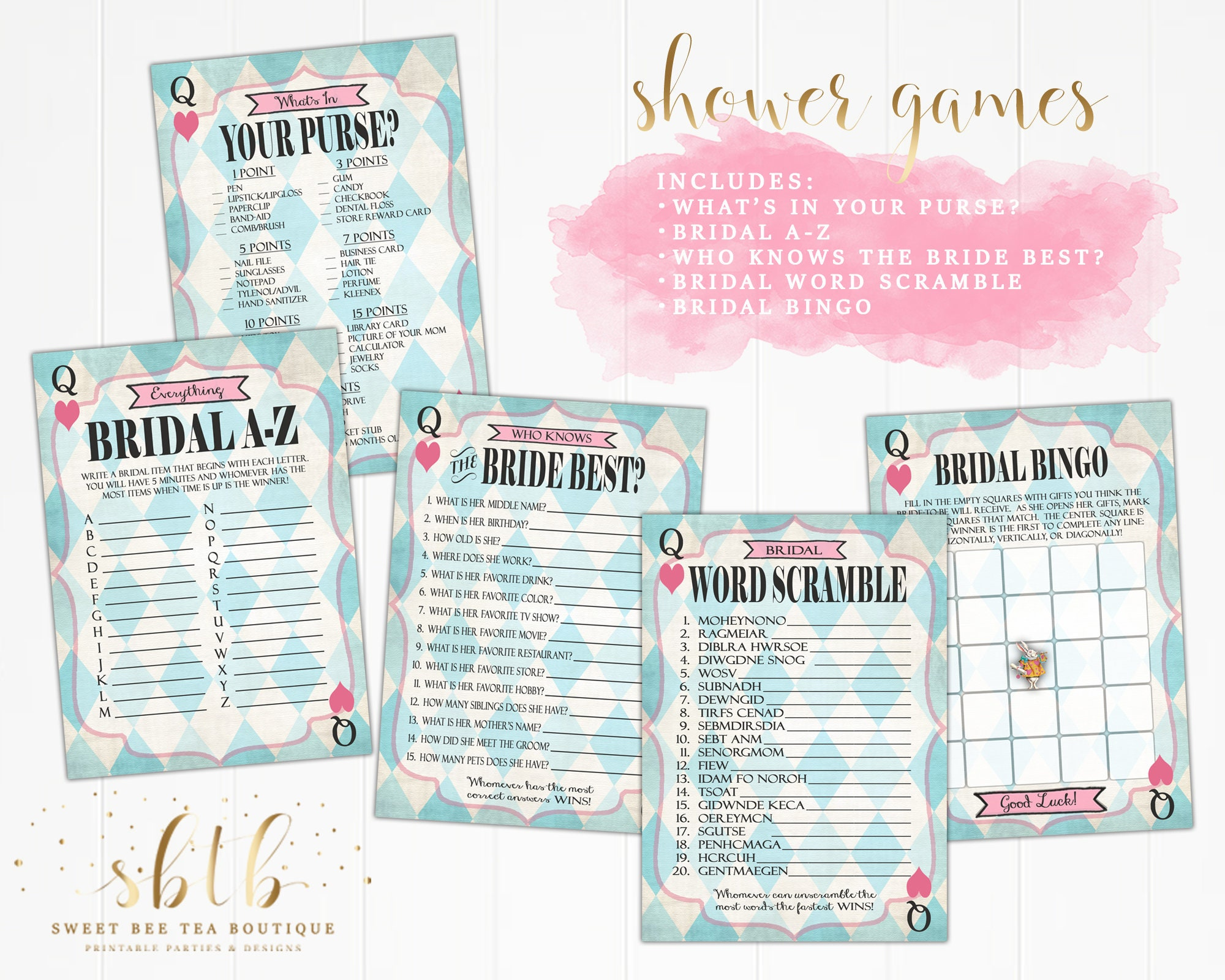 photograph regarding Printable Bridal Bingo named Alice inside of Wonderland Printable Bridal Shower Game titles - Bingo - Phrase Scramble - Who Understands Bride Least complicated - Whats Within just Your Purse - Blue Crazy Tea Celebration