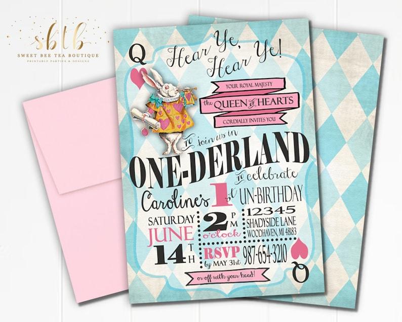 Boys Girls Alice In Wonderland First Birthday Invitation