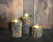 Set of 3 Drippy Beeswax Flameless Candles w Timer Tealights