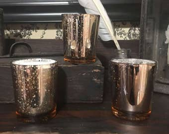 Set of 3 Rose Mercury Glass Candle Votives - Highly Scented / Over 75 Scents to Choose From