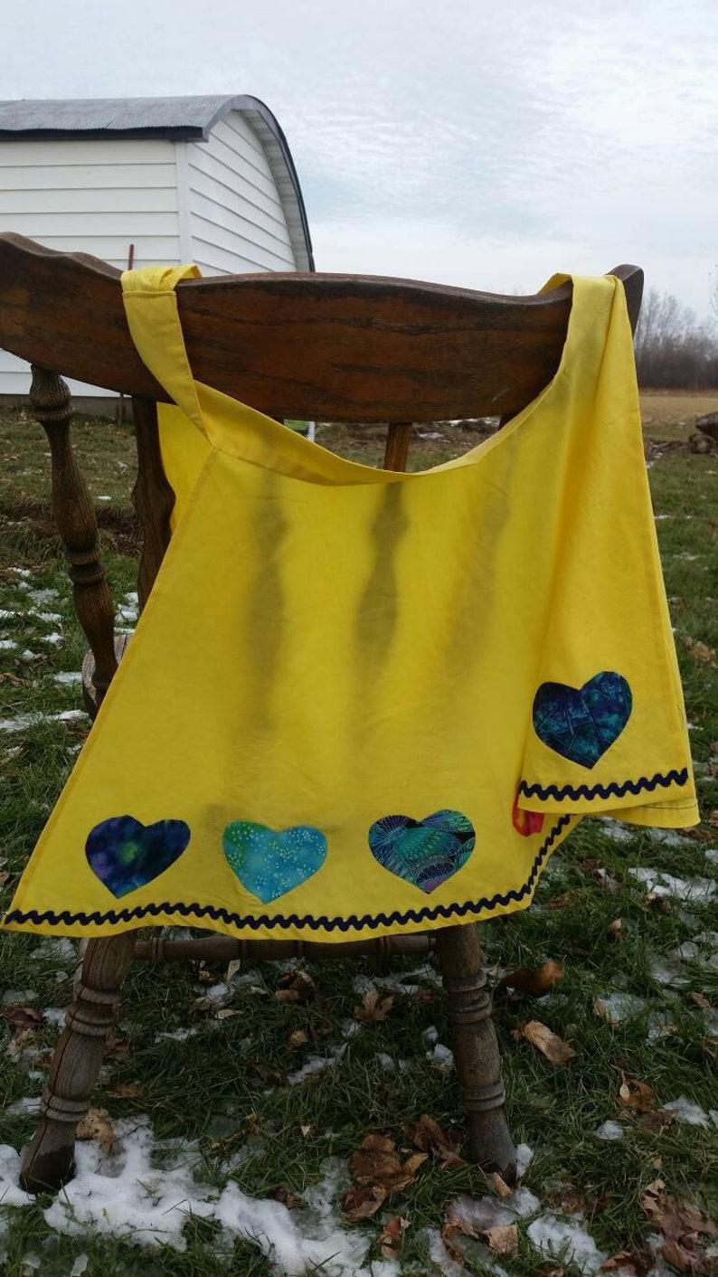 Apron with jewel-tone hearts