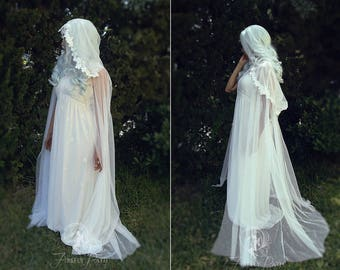 White Floral Sheer Cape