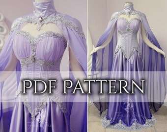 SEWING PATTERN Moonpetal PDF gown and cape pattern included