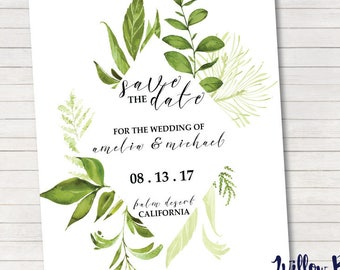 Fern Save The Date, Woodland Save The Date, Wedding Save The Date #403, 5x7 Printable, Printable Wedding Invitation