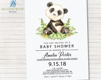 Panda Bear Baby Shower Invitation, Boy or Girl Panda Baby Shower #740