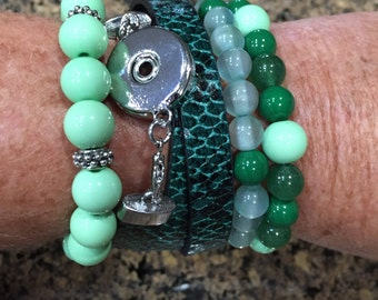 Stackable Bracelets, Layered Bracelets, Stretch Bracelets, Leather Bracelets, Mint and Green Beaded Bracelets, Set of 4 Bracelets