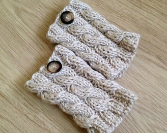 READY TO SHIP Beige Knitted Boot cuffs with buttons, Boot Socks, Leg Warmers, Boot Toppers, Knit Boot Socks Socks Boot Cuffs
