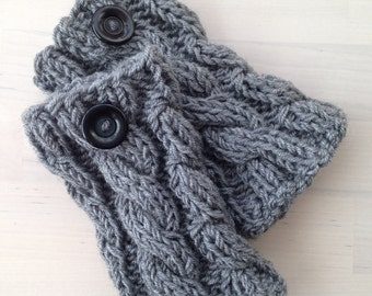 READY TO SHIP Gray Knitted Boot cuffs with buttons, Boot Socks, Leg Warmers, Boot Toppers, Knit Boot Socks Socks Boot Cuffs