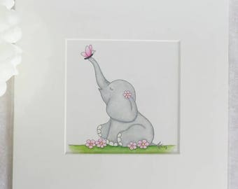 Original Artwork - Flutterby Ellie Elephant