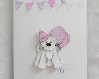 Party Westie Birthday Card in PInk & Lilac