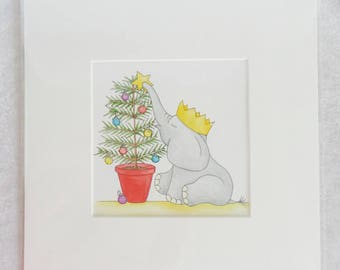 Original Artwork - Christmas Tree Ellie Elephant