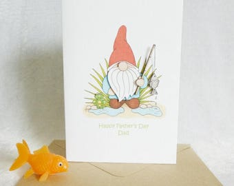 Happy Father's Day Dad card - 'Norm' the fishing gnome