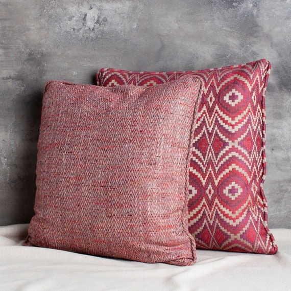 Cranberry Herringbone Cotton Pillow | Etsy