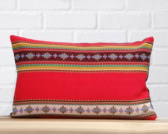 Red Ribbed Southwestern Pillow