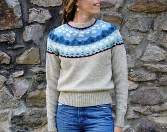 Vintage 1980s Abercrombie & Fitch Fair Isle Sweater, Wool Pullover Ski Sweater; Sheep and Trees Pattern; Vintage sz Large, Modern sz Small