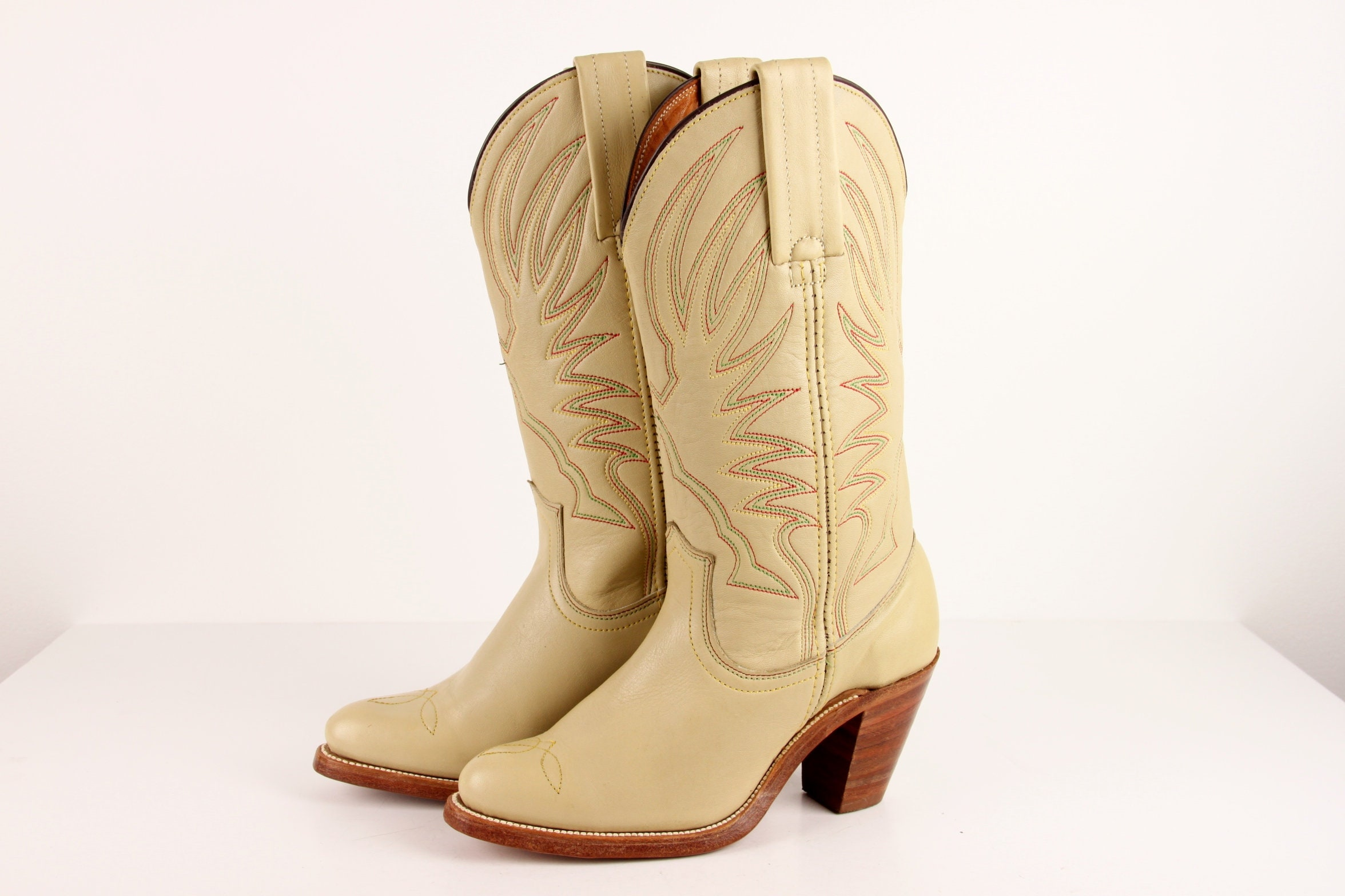 ff5c2be383e Vintage Frye Boots, New Irregular Frye Cowboy Cowgirl Boots, High Heel  Western Boots, Embroidered Cream Tan Leather Boots, Womens size 5 B