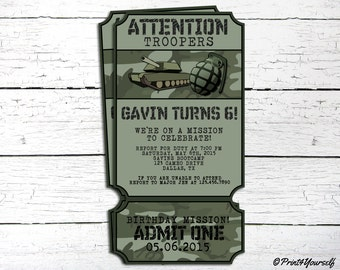 Army Invite Personalized Printable Cameo Military Ticket Birthday Invitation