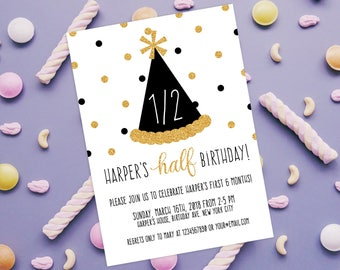 Half Birthday Invitation 1 2 Celebration Bash 6 Months