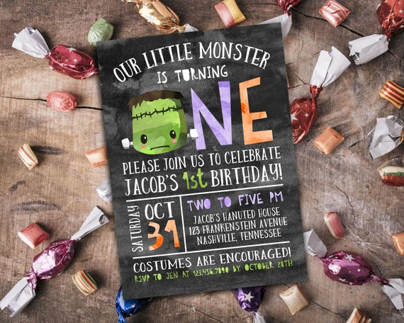 1st Birthday Frankenstein Invitation Personalized Printable Halloween