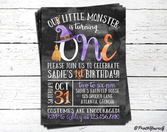 1st Birthday Witch Invitation Personalized Printable