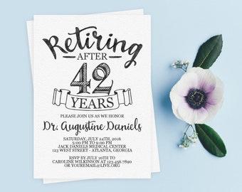 Elegant Retirement Invite // Personalized Printable Light Grey/Black Retirement Invitation // Retiring Invite // Retiring Invitation