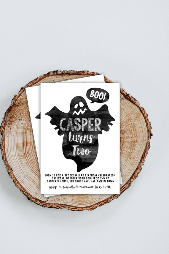 Ghost Birthday Invitation Personalized Printable Halloween