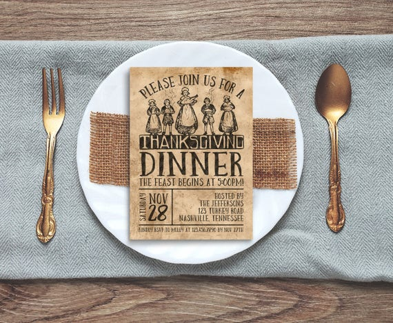 Old-Fashioned Thanksgiving Invitation